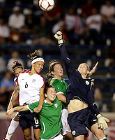 Irish goalkeeper Emma Byrne (1) punches the ball away from oncoming US forward Natasha Kai (6).  The US Women's National Team defeated Ireland 2-0 at Toyota Park in Bridgeview, IL on September 20, 2008.  Photo by Tracy Allen/isiphotos.com