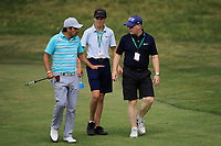 Felipe Aguilar (CHI) and Keith Pelley CEO Europeantour during the third round of the Shot Clock Masters played at Diamond Country Club, Atzenbrugg, Vienna, Austria. 09/06/2018<br /> Picture: Golffile | Phil Inglis<br /> <br /> All photo usage must carry mandatory copyright credit (&copy; Golffile | Phil Inglis)