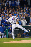 Chicago Cubs third baseman Kris Bryant (17) throws to first base in the second inning during Game 4 of the Major League Baseball World Series against the Cleveland Indians on October 29, 2016 at Wrigley Field in Chicago, Illinois.  (Mike Janes/Four Seam Images)