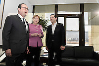 Pictured L-R: French President Francois Hollande, German Chancellor Angela Merkel and Greek Prime Minister Alexis Tsipras Friday 19 February 2016<br /> Re: European Union summit in Brussels, Belgium.