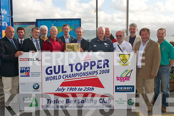 OFFICIAL OPENING: Pictured on Sunday in Fenit at the official opening of the Gul Topper World Championships, hosted by Tralee Bay sailing club, which was opened by former Tanaiste and Labour party leader Dick Spring were l-r: Peter Crowley (president ISA), Pat Daly (Sec TBSC), Ted Fitzgerald (Lord Mayor of Tralee), Johnny Wall (chairman of Tralee/Fenit harbour board), Paddy O'Sullivan (TBSC), Dick Spring, Dr Dave Buckley (Commodore), George Clarke (President International TCA), Alan Crosby (Principal race officer), Ian Cox (official measurer Irish TCA), Brendan Fitzgerald (Tres TBSC), Liam Lynch (vice Commodore) and Paul Doran (chairman Irish TCA).   Copyright Kerry's Eye 2008