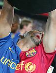 Dani Alves celebrates with the La Liga trophy. Barcelona v Osasuna (0-1), La Liga, Nou Camp, Barcelona, 23rd May 2009.
