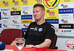 St Johnstone v Eskisehirspor....18.07.12  Uefa Cup Qualifyer.Steve Lomas during the press conference.Picture by Graeme Hart..Copyright Perthshire Picture Agency.Tel: 01738 623350  Mobile: 07990 594431