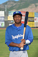 Jaylen Harris (5) of the Ogden Raptors poses for a photo during media day on June 14, 2014 at Lindquist Field in Ogden, Utah. (Stephen Smith/Four Seam Images)