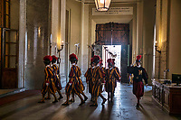 Vatican City, June 26, 2018. Vatican Swiss Guards march ahead of the visit of French President Emmanuel Macron, at the Vatican.