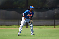 GCL Mets center fielder Ranfy Adon (12) during the first game of a doubleheader against the GCL Astros on August 5, 2016 at Osceola County Stadium Complex in Kissimmee, Florida.  GCL Astros defeated the GCL Mets 4-1 in the continuation of a game started on July 21st and postponed due to inclement weather.  (Mike Janes/Four Seam Images)