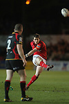 Ian Keatley kicks an early penalty for Munster..RaboDirect Pro12.Dragons v Munster.03.03.12.©STEVE POPE