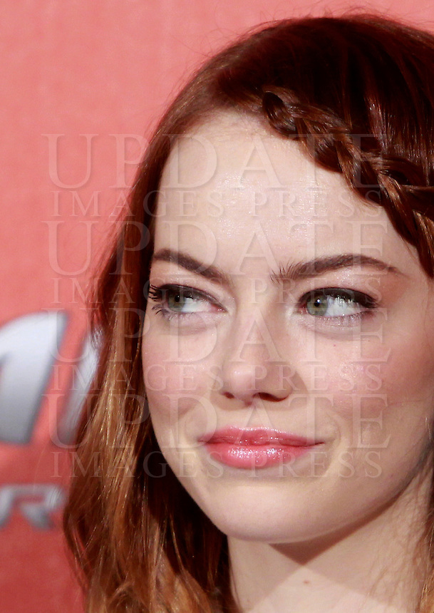 "L'attrice statunitense Emma Stone posa durante un photocall per la presentazione del film ""The Amazing Spider-Man 2 - Il potere di Electro"" a Roma, 14 aprile 2014.<br /> U.S. actress Emma Stone poses during a photocall for the presentation of the movie ""The Amazing Spider-Man 2"" in Rome, 14 April 2014.<br /> UPDATE IMAGES PRESS/Isabella Bonotto"