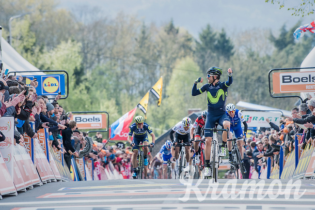 Alejandro Valverde (ESP/Movistar) wins his 5th Fl&eacute;che on top of the infamous Mur de Huy<br /> <br /> 81st La Fl&egrave;che Wallonne (1.UWT)<br /> One Day Race: Binche &rsaquo; Huy (200.5km)
