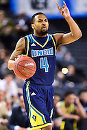 MAR 7, 2016: Baltimore, MD - North Carolina-Wilmington Seahawks guard Jordon Talley (4) brings the ball up court against Hofstra Pride during the Championship game of the CAA Basketball Tournament at Royal Farms Arena in Baltimore, Maryland. (Photo by Philip Peters/Media Images International)
