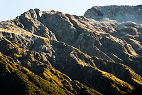 Rugged slopes of Southern Alps, Arthur's Pass National Park, Canterbury, South Island, New Zealand, NZ