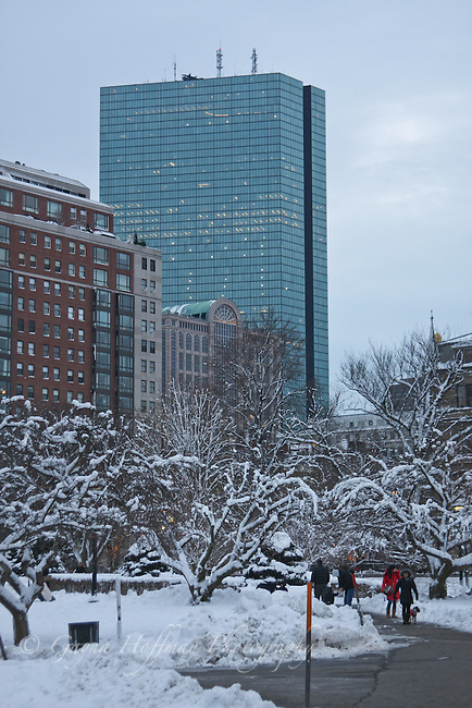 Boston, view of the Hancock Building from the Public Garden, snow.