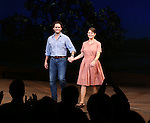 Steven Pasquale and Kelli O'Hara during the Pre-Opening Night Curtain Call for 'The Bridges of Madison County' with special guest Author Robert James Waller at The Gerald Schoenfeld Theatre on February 19, 2014 in New York City.