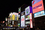 Osaka, JP - January 21, 2015 : The big Glico Running Man and other neon signs at the Dotonbori shopping district of Osaka, Japan. (Photo by Rodrigo Reyes Marin/AFLO)