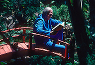 Beverly Hills, Los Angeles, Califronia - April 21, 1979. This photograph of Sidney Sheldon was taken while he was reading on a Japanese bridge, in his garden. Sidney Sheldon (1917 - 2007) was an Academy Award-winning American writer, whose vast career earned him the title of the seventh best selling writer of all time. The most well-known of his novels Master of the Game, The Other Side of Midnight and Rage Of Angels, which also became a TV series.