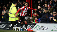 Said Benrahma celebrates  Brentford's seven goal victory with the home fans at the final whistle during Brentford vs Luton Town, Sky Bet EFL Championship Football at Griffin Park on 30th November 2019