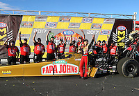 Feb 26, 2017; Chandler, AZ, USA; NHRA top fuel driver Leah Pritchett celebrates with her crew after winning the Arizona Nationals at Wild Horse Pass Motorsports Park. Mandatory Credit: Mark J. Rebilas-USA TODAY Sports