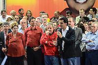 ATENCAO EDITOR IMAGEM EMBARGADA PARA VEICULOS INTERNACIONAIS - SAO PAULO, SP, 20 OUTUBRO 2012 - ELEICOES 2012 - FERNANDO HADDAD - O candidato derrotado do PMDB Gabriel Chalita (D) prefeitura pelo Partido dos Trabalhadores Fernando Haddad durante comício com presenca presidente da Republica Dilma Rousseff e o ex presidente Luiz Inacio Lula da Silva no Ginasio do Caninde na regiao norte da capital paulista, neste sábado, 20. (FOTO: ALEXANDRE MOREIRA / BRAZIL PHOTO PRESS).