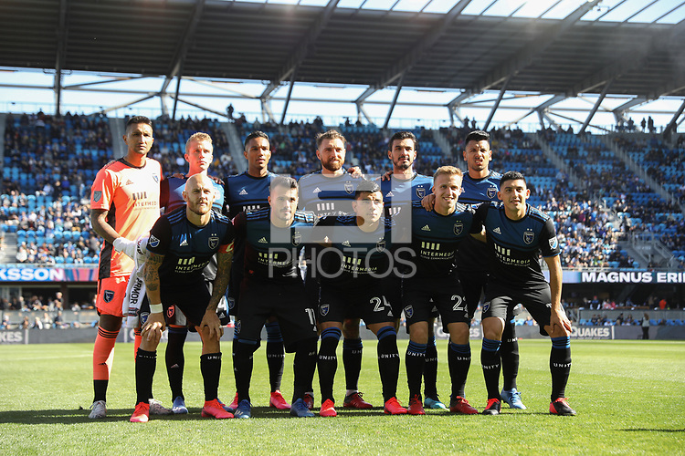SAN JOSE, CA - FEBRUARY 29: San Jose Earthquakes  Starting Eleven during a game between Toronto FC and San Jose Earthquakes at Earthquakes Stadium on February 29, 2020 in San Jose, California.