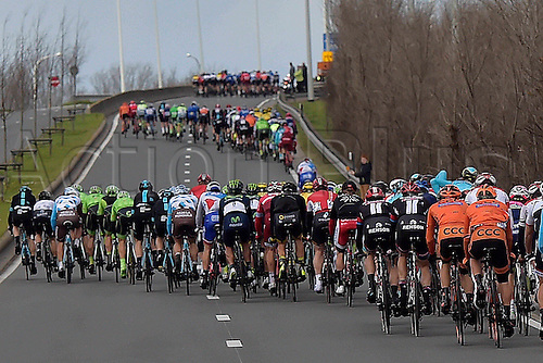 27.03.2016. Deinze, Belgium.  the peloton is divided in echelons during the Flanders Classics UCI World Tour 78nd Gent-Wevelgem cycling race with start in Deinze and finish in Wevelgem