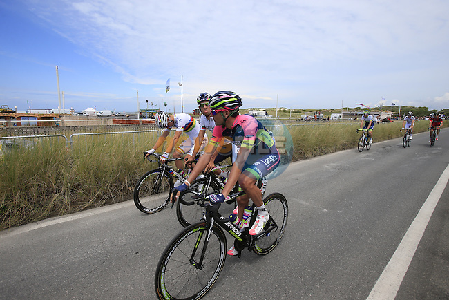 Lampre-Merida riders in Le Touquet for the start of Stage 4 of the 2014 Tour de France running 163.5km from Le Touquet to Lille. 8th July 2014.<br /> Picture: Eoin Clarke www.newsfile.ie