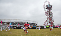 General View as the Rudimental Team hit a shot at goal during the SOCCER SIX Celebrity Football Event at the Queen Elizabeth Olympic Park, London, England on 26 March 2016. Photo by Andy Rowland.