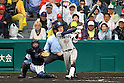 Teppei Matsumoto (Tsuruga Kehi),<br /> APRIL 1, 2015 - Baseball :<br /> Teppei Matsumoto of Tsuruga Kehi hits a two-run home run in the bottom of the eighth inning during the 87th National High School Baseball Invitational Tournament final game between Tokai University Daiyon 1-3 Tsuruga Kehi at Koshien Stadium in Hyogo, Japan. (Photo by Katsuro Okazawa/AFLO)8 1