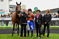 Connections of Red Dragon in the winners enclosure after winning the Dartmouth General Contractors Ltd Handicap (Div 1),  during Afternoon Racing at Salisbury Racecourse on 7th August 2017
