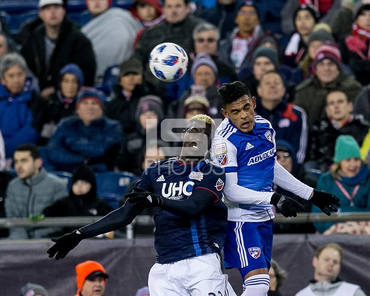 Foxborough, Massachusetts - April 14, 2018: First half action. In a Major League Soccer (MLS) match, New England Revolution (blue/white) vs FC Dallas (white/blue), at Gillette Stadium.