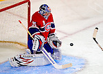 22 November 2008: Montreal Canadiens' goaltender Carey Price in action during the second period against the Boston Bruins at the Bell Centre in Montreal, Quebec, Canada.  After a 2-2 regulation tie and a non-scoring 5-minute overtime period, the Boston Bruins scored the lone shootout goal thus defeating the Canadiens 3-2. The Canadiens, celebrating their 100th season, honored former Montreal goaltender Patrick Roy, and retired his jersey (Number 33) during pre-game ceremonies. ***** Editorial Use Only *****..Mandatory Photo Credit: Ed Wolfstein Photo *** Editorial Sales through Icon Sports Media *** www.iconsportsmedia.com