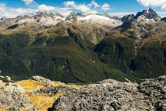 Darran Mountains as seen from Conical Hill 1515m on Routeburn Track. Hollyford Valley below, Fiordland National Park, UNESCO World Heritage Area, Southland, South Island, New Zealand, NZ
