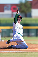Mesa Solar Sox shortstop Eli White (21), of the Oakland Athletics organization, slides into third base during an Arizona Fall League game against the Salt River Rafters at Sloan Park on October 30, 2018 in Mesa, Arizona. Salt River defeated Mesa 14-4 . (Zachary Lucy/Four Seam Images)