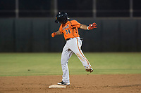 AZL Giants Orange second baseman Wascer De Leon (34) celebrates after hitting a double during an Arizona League game against the AZL Athletics at Lew Wolff Training Complex on June 25, 2018 in Mesa, Arizona. AZL Giants Orange defeated the AZL Athletics 7-5. (Zachary Lucy/Four Seam Images)