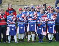 USA supporters during the Saturday Fourball Matches of the Ryder Cup at Gleneagles Golf Club on Saturday 27th September 2014.<br /> Picture:  Thos Caffrey / www.golffile.ie