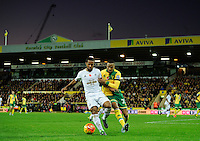 Wayne Routledge of Swansea City and Martin Olsson of Norwich City during the Barclays Premier League match between Norwich City and Swansea City played at Carrow Road, Norwich on November 7th 2015