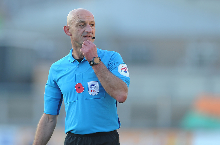 Referee Roger East<br /> <br /> Photographer Kevin Barnes/CameraSport<br /> <br /> The EFL Sky Bet League Two - Newport County v Colchester United - Saturday 17th November 2018 - Rodney Parade - Newport<br /> <br /> World Copyright © 2018 CameraSport. All rights reserved. 43 Linden Ave. Countesthorpe. Leicester. England. LE8 5PG - Tel: +44 (0) 116 277 4147 - admin@camerasport.com - www.camerasport.com