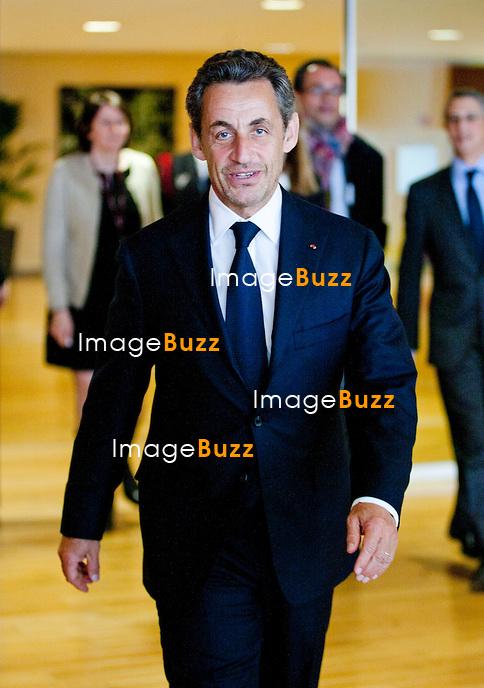 NICOLAS SARKOZY EN VISTE A BRUXELLES -Nicolas Sarkozy rencontre José Manuel Barroso, Président de la Commission européenne, dans les bureaux du Berlaymont..Bruxelles, 27/03/2013