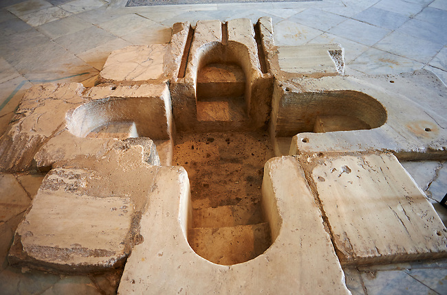 Sixth century Eastern Roman Byzantine  Christian walk in Baptismal font made from marble. The Bardo National Museum, Tunis, Tunisia