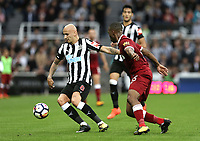 Newcastle United's Jonjo Shelvey under pressure from Liverpool's Daniel Sturridge<br /> <br /> Photographer Rich Linley/CameraSport<br /> <br /> The Premier League -  Newcastle United v Liverpool - Sunday 1st October 2017 - St James' Park - Newcastle<br /> <br /> World Copyright &copy; 2017 CameraSport. All rights reserved. 43 Linden Ave. Countesthorpe. Leicester. England. LE8 5PG - Tel: +44 (0) 116 277 4147 - admin@camerasport.com - www.camerasport.com