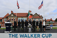 James Sugrue (GB&I) raises the Irish Flag during the Official Opening of the Walker Cup, Royal Liverpool Golf CLub, Hoylake, Cheshire, England. 06/09/2019.<br /> Picture Thos Caffrey / Golffile.ie<br /> <br /> All photo usage must carry mandatory copyright credit (© Golffile | Thos Caffrey)