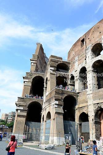 Exterior photo of the architecture of the western side of the Colosseum, also known as the Flavian Amphitheatre, showing the partially intact outer wall, left, and the mostly intact inner wall, right, in Rome, Italy on Friday, May 25, 2012..Credit: Ron Sachs / CNP