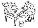 Man in Apron (cuts a circle in pastry using a compass)