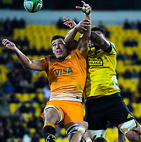 Jaguares' Guido Petti beats Isaia Walker-Leawere to lineout ball during the Super Rugby match between the Hurricanes and Jaguares at Westpac Stadium in Wellington, New Zealand on Friday, 17 May 2019. Photo: Dave Lintott / lintottphoto.co.nz