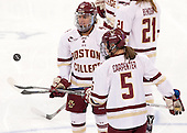 Toni Ann Miano (BC - 18), Alex Carpenter (BC - 5) - The Boston College Eagles defeated the Northeastern University Huskies 5-1 (EN) in their NCAA Quarterfinal on Saturday, March 12, 2016, at Kelley Rink in Conte Forum in Boston, Massachusetts.