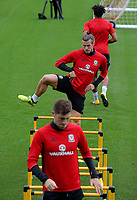 Gareth Bale warms up during the Wales Training Session at the Vale Resort, Hensol, Wales, UK. Tuesday 29 August 2017