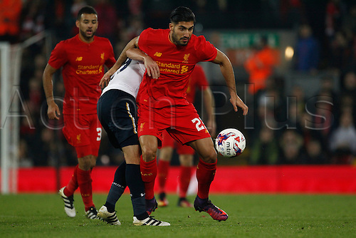 25.10.2016. Anfield, Liverpool, England. EFL Cup. Liverpool versus Tottenham Hotspur. Liverpool midfielder Emre Can holds his man off from the ball.