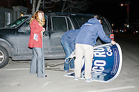 """Campaign workers put away large signs reading """"New Hampshire is Marco Rubio Country"""" after Florida senator and Republican presidential candidate Marco Rubio spoke at a town hall campaign event at Exeter Town Hall in Exeter, New Hampshire, on Tues. Feb. 2, 2016. The day before, Rubio placed third in the Iowa caucus."""