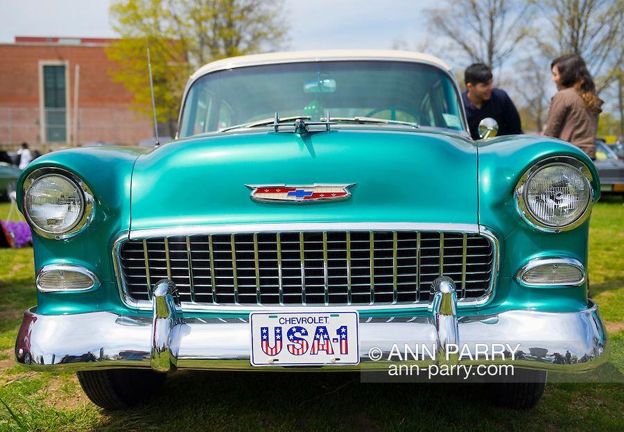 This 1955 Chevy Bel Air, a Nepture Green and Shoreline Beige 4-door sedan, is at the Antique Auto Show, where New York Antique Auto Club members exhibited their cars on the farmhouse grounds of Queens County Farm Museum.
