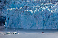 Tourists view the face of Nellie Juan Glacier,  Nellie Juan Lagoon, Prince William Sound, Chugach National Forest, Kenai Peninsula, southcentral, Alaska.