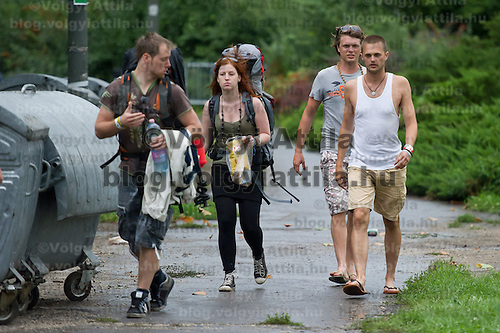 Participants walk on Sziget festival held in Budapest, Hungary on August 07, 2011. ATTILA VOLGYI